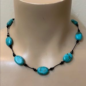Anthropologie Turquoise Stone Knot Bead Necklace
